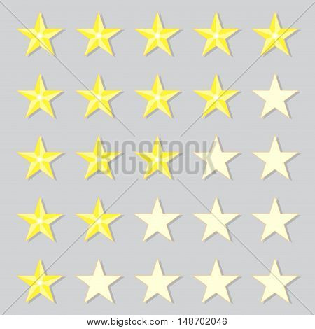 Rank gold stars. Rating and ranking icon. Vector illustration