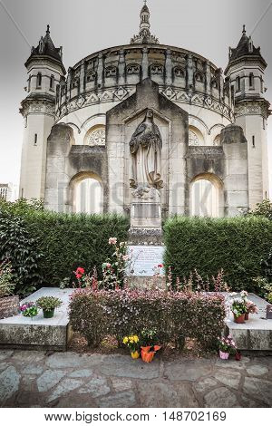 Lisieux France - September 7 2016: Basilica of St. Therese of Lisieux in Normandy France initial burial place of saints Lois and Zelie Martin parents of St. Teresa.