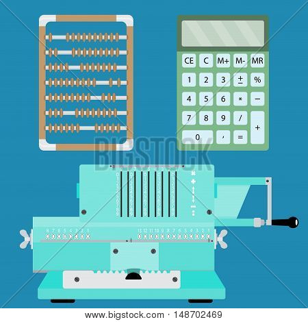 Collection of calculators. Adding machine calculator and abacus. Vector illustration