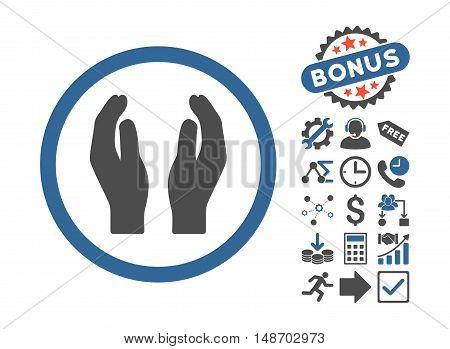 Applause Hands pictograph with bonus images. Vector illustration style is flat iconic bicolor symbols, cobalt and gray colors, white background.