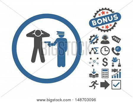 Arrest pictograph with bonus pictures. Vector illustration style is flat iconic bicolor symbols, cobalt and gray colors, white background.