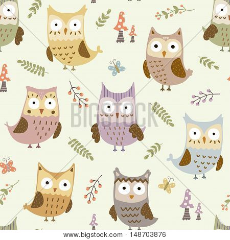 Cute owls seamless pattern. Vector texture in childish style great for fabric and textile, wallpapers, web page backgrounds, cards and banners design