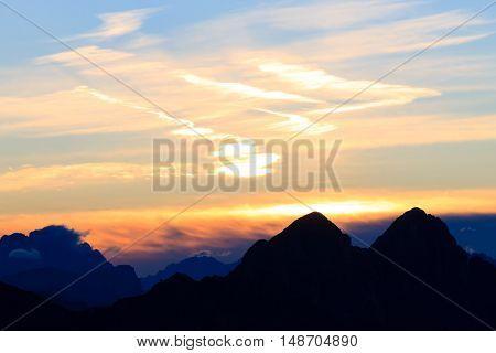 Italian mountain panorama at dawn.