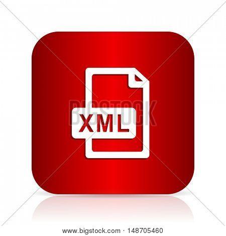 xml file red square modern design icon