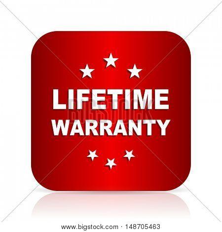 lifetime warranty red square modern design icon