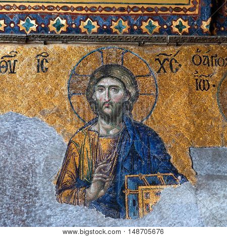 Byzantine Mosaic In The Old Church Hagia Sophia In Istanbul, Turkey