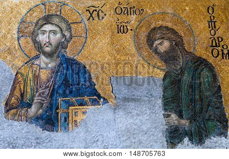 ISTANBUL, TURKEY - OCTOBER 30, 2015: Byzantine mosaic in the old church Hagia Sophia, showing the Judgment day with Jesus Christ from the 12th century.