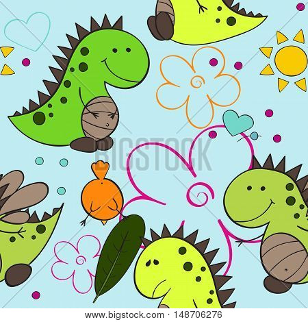 Neon baby dino seamless repeat wallpaper vector illustration
