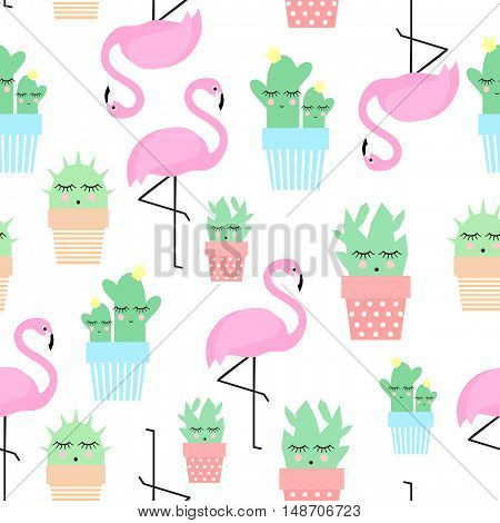 Flamingo with cacti in cute pots seamless pattern. Simple cartoon plant vector illustration. Child drawing style cute cactus with tropical bird background.