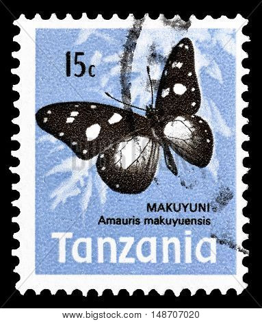 TANZANIA - CIRCA 1973 : Cancelled postage stamp printed by Tanzania, that shows Nymphalid Butterfly.