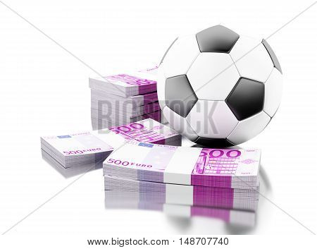 3d renderer image. Soccer ball with money. Betting concept. Isolated white background.