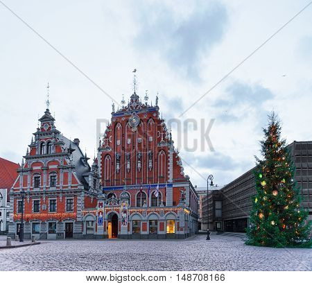 Christmas Tree At House Of The Blackheads In Riga