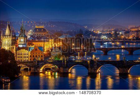 Evening over river Vltava near Charles bridge in Prague. Czech republic