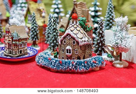 Handmade Ceramic Houses At Vilnius Christmas Market
