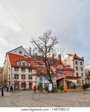 People At Livu Square At Riga Christmas Market