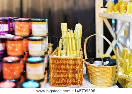 Stall With Wax Candles At The Vilnius Christmas Market
