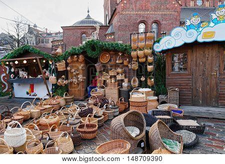Wicker Baskets At Christmas Market In Riga
