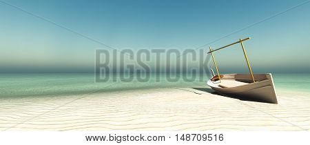 3d illustration of llaud traditional boat in the Balearic Islands Spain