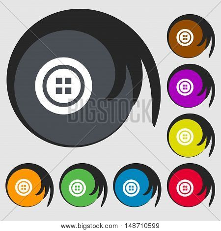Sewing Button Sign. Symbols On Eight Colored Buttons. Vector