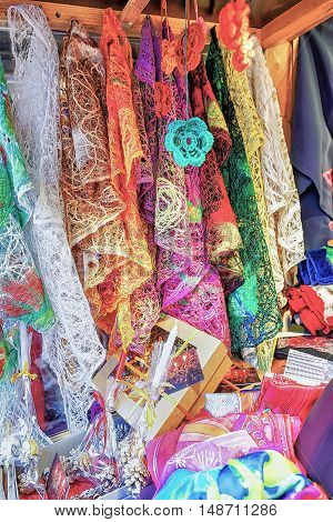 Colorful Festive Scarfs On Display At The Riga Christmas Market