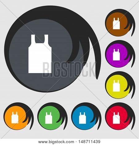 Working Vest Icon Sign. Symbols On Eight Colored Buttons. Vector
