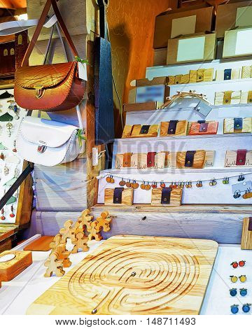 Handmade Wooden And Leather Souvenirs At Riga Christmas Market