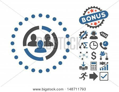 Demography Diagram icon with bonus design elements. Vector illustration style is flat iconic bicolor symbols, cobalt and gray colors, white background.
