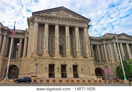 Washington DC USA - May 2 2015: Andrew W. Mellon Auditorium can be found in Washington. It is a Neoclassical type of auditorium which can seat up to 750 people. The architect was Arthur Brown Jr.