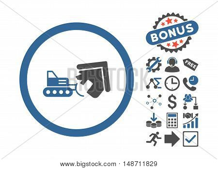 Demolition icon with bonus symbols. Vector illustration style is flat iconic bicolor symbols cobalt and gray colors white background.