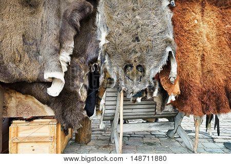 Animal Fur On Display At Riga Christmas Market