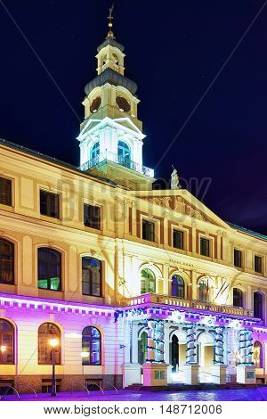 Building Of City Council In Center Of Riga At Night