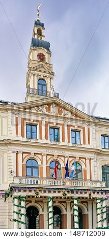 Building Of City Council In Center Of Old Riga