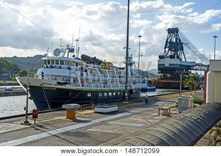 Panama City, Panama - March 3, 2014: Cruise Ship goes thru Miraflores locks of the Panama Canal