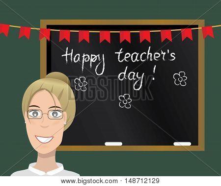 Happy teacher's day card. Vector illustration. Cartoon character. Isolated.