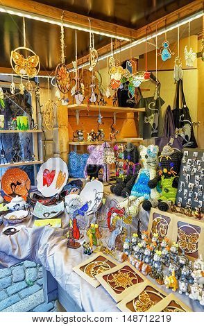 Different Small Souvenirs And Accessories At Riga Christmas Market