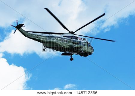 Flying Helicopter In Sky In Washington