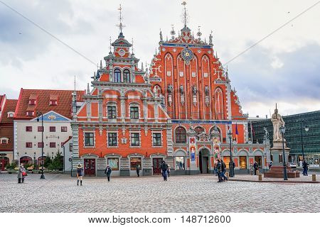House Of The Blackheads In The Old Town In Riga