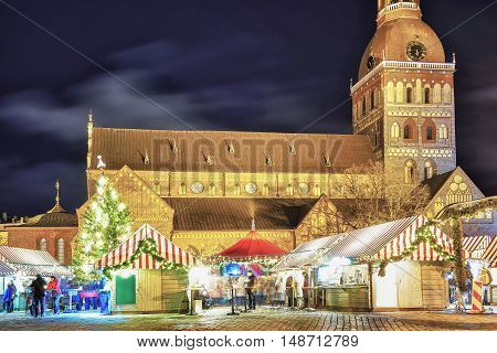Night View At The Christmas Market At Riga Cathedral Square