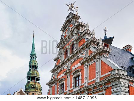 Saint Peter Church And House Of Blackheads In Riga