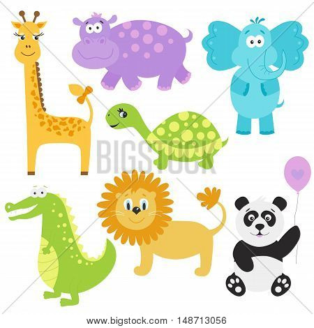 Set of cute cartoon animals. Giraffe crocodile elephant hippo panda lion turtle. Vector illustration isolated on white background.