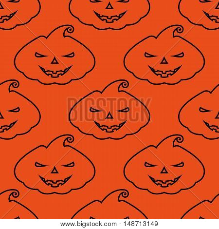 Vector pattern silhouette scary pumpkin face on orange background