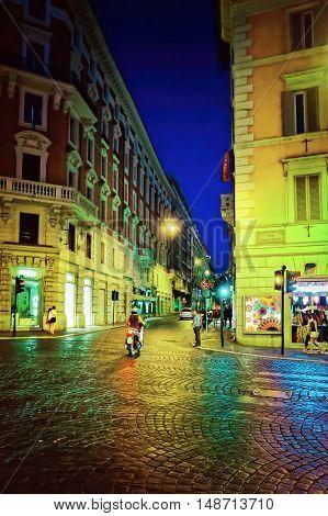 Via Nazionale Street In City Center Of Rome In Italy