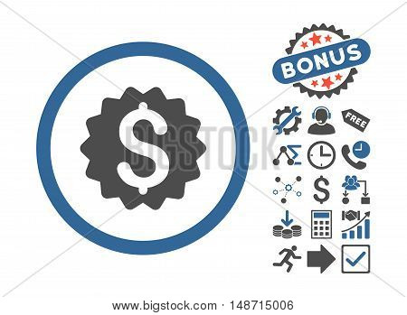 Financial Reward Seal icon with bonus symbols. Vector illustration style is flat iconic bicolor symbols, cobalt and gray colors, white background.