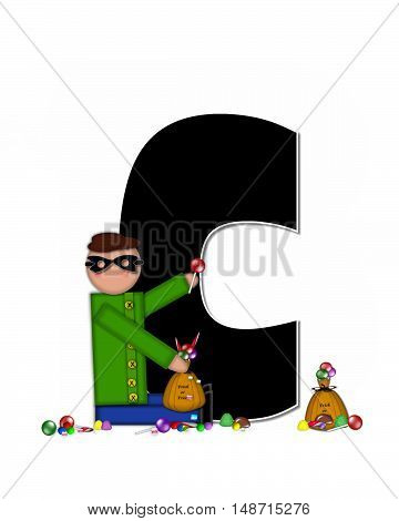 The letter C in the alphabet set