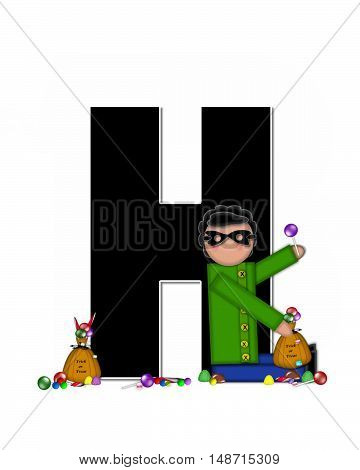 The letter H in the alphabet set
