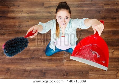 Cleaning Woman Sweeping Wooden Floor