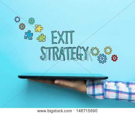 Exit Strategy Concept With A Tablet