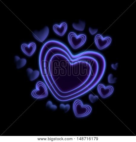 blue neon abstract heart shapes - 3D render