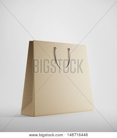 Beige Shopping Bag Against White Background