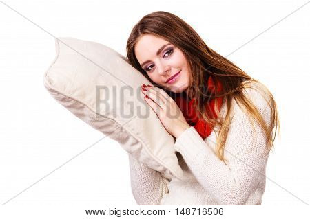 Girl Relaxing On Pillow.